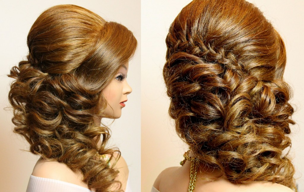 curly prom wedding hairstyle with braid for long hair