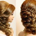 Curly-prom-wedding-hairstyle-with-braid-for-long-hair-tutorial