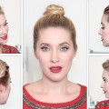 Fun-summer-hairstyles-for-medium-long-hair-Everyday-updo-top-knot-ponytail