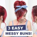 3-Easy-Messy-Buns-l-Cute-Hair-Buns-l-Summer-Hairstyles-for-Medium-Long-Hair