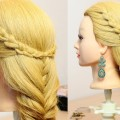 Everyday-hairstyle-for-long-hair.-Fishtail-and-Knotted-braid.