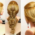 Everyday-hairstyles-for-long-hair.-Messy-fishtail-bubble-braid