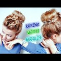 MEDIUM-SHORT-EVERYDAY-WORK-SCHOOL-HAIRSTYLE-HIGH-BUN-UPDO-WITH-BRAIDS-Awesome-Hairstyles