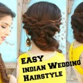 EASY-Hairstyle-For-Indian-Wedding-Occasions-For-Medium-Long-Hair-Indian-Party-Heatless-Hairstyles