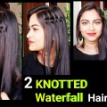2-Easy-Knotted-Waterfall-Hairstyles-for-medium-to-long-hairSide-waterfall-braidIndian-hairstyles