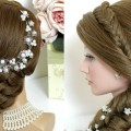 2-hairstyles-for-long-hair.-Bridal-updo-mermaid-side-braid