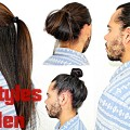 Hairstyles-For-Men-With-Long-Hair-Super-Quick-Easy-Half-UpDown-Man-Bun-Topknot-Tutorial