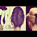 CUTE-HAIR-BUN-SCHOOL-HAIRSTYLES-FOR-MEDIUM-LONG-HAIR-TUTORIAL-RETRO-60s-BUNS-PARTY-UPDOS