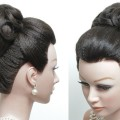 Bridal-hairstyle-for-long-hair-tutorial.-Classic-High-Bun.-Wedding-updo