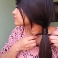 Hairstyles-for-medium-to-long-hair-Side-Knotted-ponytail-easy-hairstyle
