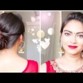2-QuickEasy-Indian-Bun-Hairstyles-for-saree-anarkali-lehnga-Party-Hairstyles-for-medium-long-hair