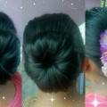EASY-ELEGANT-HAIR-BUN-FOR-MEDIUMLONG-HAIR-TUTORIALINDIAN-HAIRSTYLE-FOR-SAREEPARTY-HAIRSTYLE
