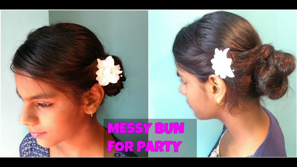Indian Party Hairstyles Messy Bun Simple Amp Easy Indian Hairstyle For Long To Medium Hair