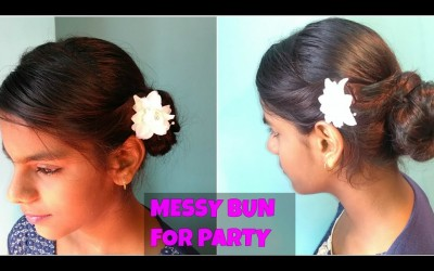 Indian-Party-Hairstyles-Messy-Bun-Simple-Easy-Indian-Hairstyle-for-long-to-medium-hair