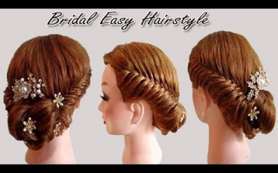 Wedding-Bridal-Easy-Hairstyle-for-Long-Medium-Hair-Simple-Easy-Hairstyle