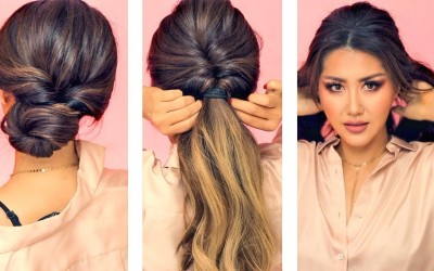 1-MIN-EVERYDAY-HAIRSTYLES-for-WORK-WITH-PUFF-EASY-BRAIDS-UPDO-for-Long-Medium-HAIR