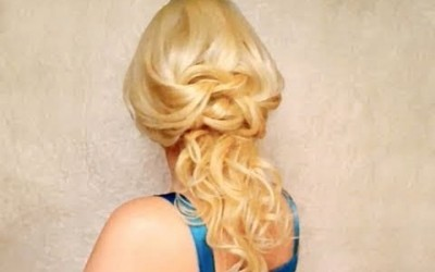 Knotted-half-updo-hairstyles-with-curls-for-long-hair-Romantic-prom-wedding-Valentines-down-do