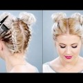 Short-Hair-2017-HOW-TO-Double-Braided-Space-Buns-On-Short-Hair-Milabu