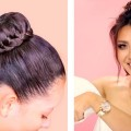 CUTE-BUN-into-PUFF-PONYTAIL-COLOR-UPDATE-EVERYDAY-HAIRSTYLES-BRAIDS-UPDO-for-Long-Medium-HAIR