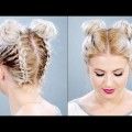 Hair-Styles-2017-HOW-TO-Double-Braided-Space-Buns-On-Short-Hair-Milabu-1