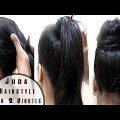 Juda-hairstyle-in-2-Minuts-Wedding-Hairstyles-Indian-Bridal-Hairstyles-Black-Hairstyles