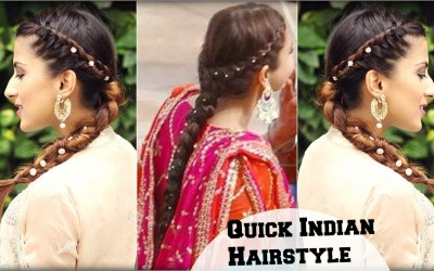 Quick-Effortless-Side-Braid-Indian-Hairstyle-for-Medium-To-Long-Hair-Anushka-Sharma-Inspired