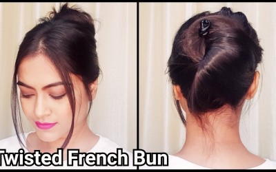 1-Min-TWISTED-FRENCH-Bun-for-long-hairEveryday-easy-Running-Late-hairstyles-for-girls