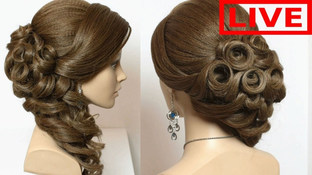 Easy Prom Wedding Hairstyle Braided Flower Updo For Long Hair