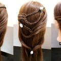 Side-Sweep-Hairstyle-Tied-with-Multiple-Chains-Barbie-Hairstyle-For-Long-and-Straight-Hairs