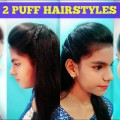 2-Puff-Hairstyles-in-2-min-Indian-Hairstyles-for-long-medium-hair-for-school-college-work