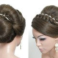 Braided-Bun-Updo.-Hairstyle-For-Long-Medium-Hair-With-4-Strand-Braid