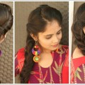 Indian-Festival-Hairstyle-Rolled-up-Fishtail-Braid-Hairstyle-For-Long-Hair