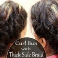 Low-Curl-Bun-With-Thick-Side-BraidsParty-Getup-HairstylesNew-Hairstyles