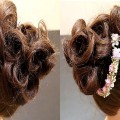 Messy-Bun-With-Curl-EndsRomantic-HairstyleWedding-Hairstyles