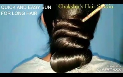 Easy-buns-for-very-long-hairsilky-updohairstyle-for-long-hair