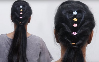 How-to-Long-Ponytail-with-puff-Ponytail-Hairstyle-for-medium-hair-Hair-Tutorial