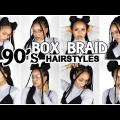 SUPER-EASY-90s-STYLEINSPIRED-HAIRSTYLES-On-Long-Box-Braids-