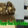 Amazing-Flower-bun-juda-with-evening-gown-for-parties-dressy-hairstyles-for-long-hair-wedding