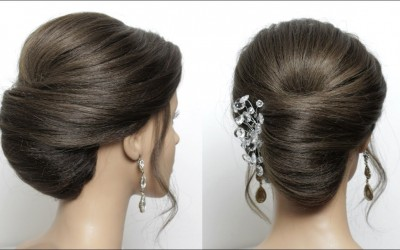 Hairstyle-French-Roll.-Quick-Updo-For-Medium-Long-Length-Hair