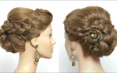 Easy-Updo-For-Parties.-Simple-Hairstyle-For-Long-Hair-With-Braided-Flower