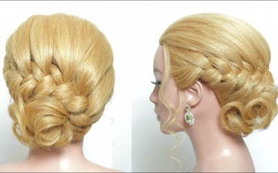 Quick-Easy-Messy-Bun-Hairstyle.-Braided-Updo-For-Long-Medium-Hair