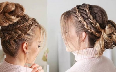 Romantic-Braided-Bun-Updo-Hairstyles-How-To-Fancy-Bun-With-Braids