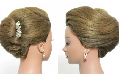 Simple-French-Roll-Hairstyle-For-Long-Hair-Tutorial.-Quick-Updo