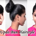 Updo-Bun-Self-Hairstyles-for-long-medium-hair-tutorial.Hairstyle-videos