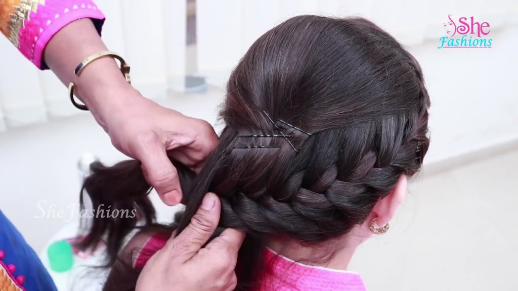Braid With Crown Puff Hairstyle Best Hairstyles For Pattu Sarees
