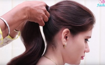 Easy-Ponytail-Hairstyle-For-College-or-School-Girls-Beautiful-Hairstyle-tutorial-2018