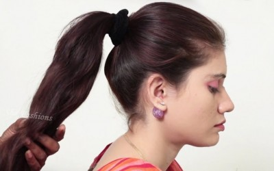 How-to-do-Perfect-Ponytail-Hairstyle-for-long-hair-Easy-Braid-Hairstyle-tutorial-2018