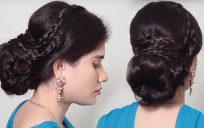 How-to-make-Bubble-Bin-Hairstyle-for-long-hair-Easy-Hairstyles-Step-by-step-Process-2018