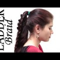 Cute-Ladder-Braid-Ponytail-Hairstyle-For-Medium-Long-Hair-TutorialRound-Lace-Braided-Ponytail-