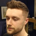 Short-Textured-Mens-Fade-Haircut-With-Front-Cowlick-Beard-Trim